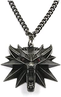 Vintage Wolf Head Necklace Pendant the witcher 3 wild hunt Figure Game Wizard witcher 3 Medallion Pendant Necklace