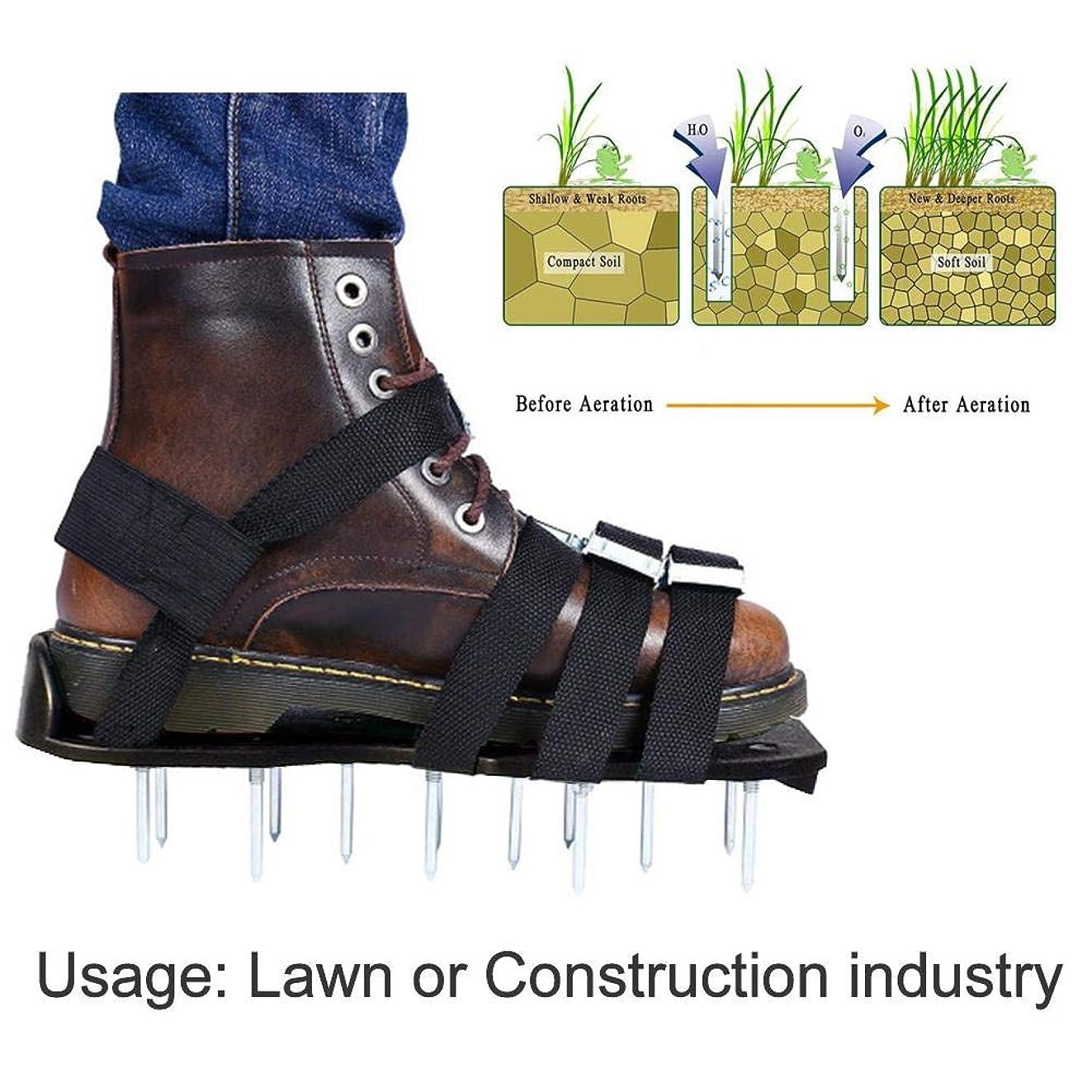 解明カート料理をするLicentury ガーデンスパイク 芝生スパイク 芝生穴あけ用 履くタイプ ガーデンスパイクシューズ 取り付け簡単 芝生通風 農業用