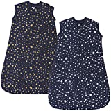 Hudson Baby Unisex Baby Premium Quilted Sleeveless Sleeping Bag and Wearable Blanket, Metallic Stars, 18-24 Months