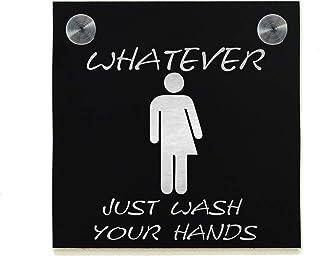 Signe de porte de toilettes d'hôtel - Aluminium noir gravé au Laser de fibre - Signe de WC moderne - Plaque de décoration ...
