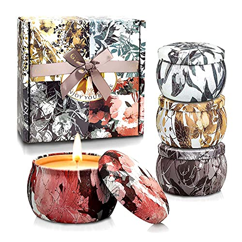 YINUO LIGHT Scented Candles Gifts Set for Women Aromatherapy Candles Stress Relief, Upgraded Large Tin of Soy Candle Scented Lavender Candle, Gifts for Women Birthday Gifts