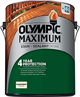 Olympic Stain 56502 Maximum Wood Stain and Sealer, 1 Gallon, Transparent Stain, Honey Gold