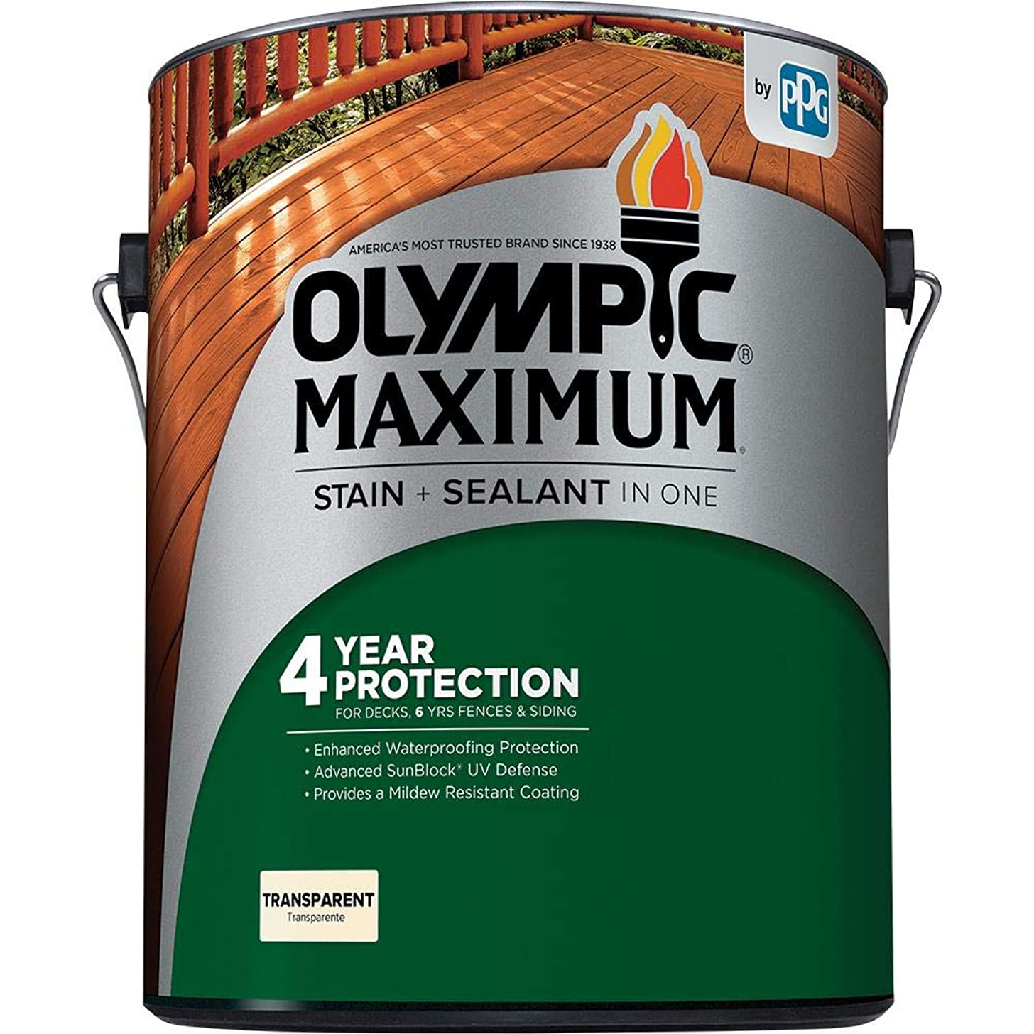 Olympic Stain 56505-1 Maximum Wood Stain and Sealer, 1 Gallon, Transparent Stain, Canyon Brown