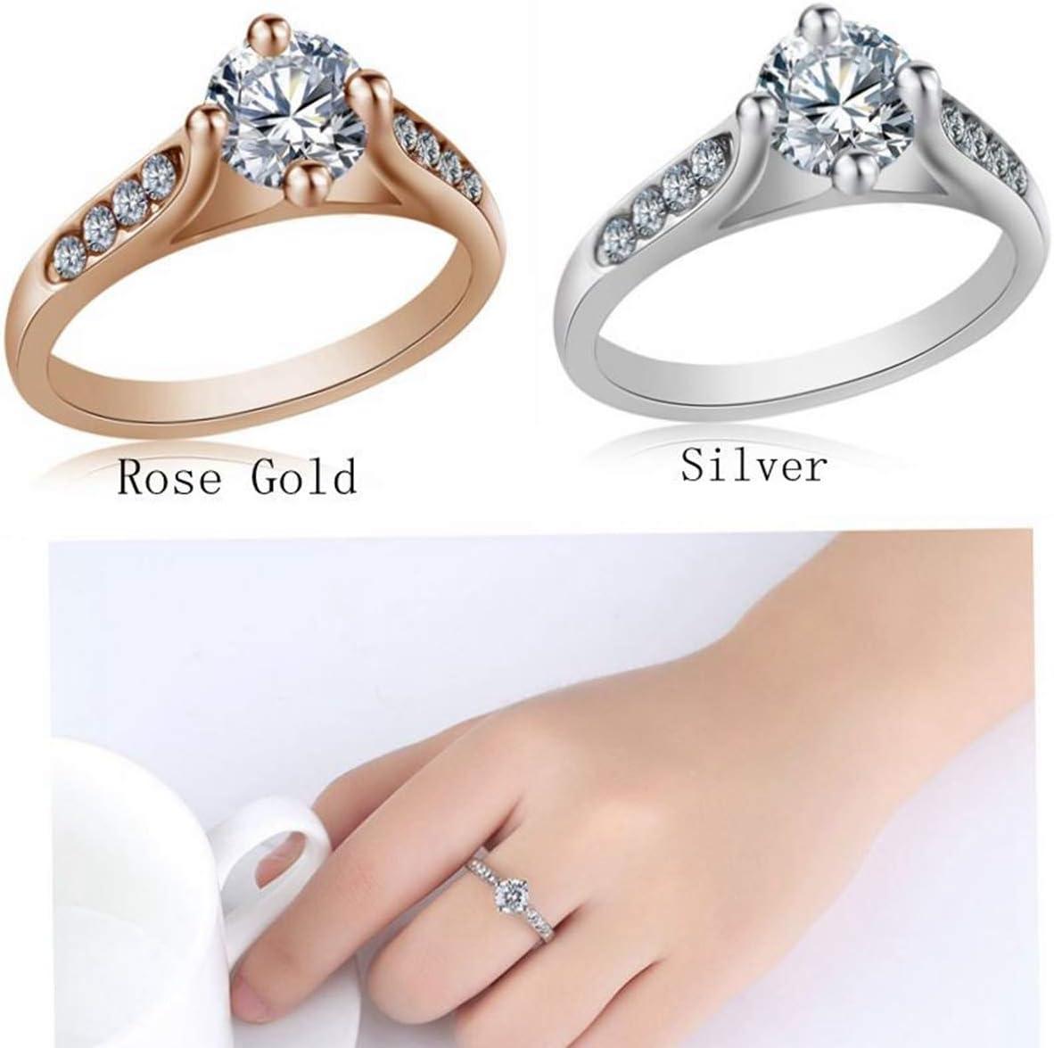 Haluoo/_Jewelry Diamond Ring,Haluoo Rose Gold Openwork Cubic Zirconia Rhinestones Circle Ring Luxury Large Diamond Promise Ring Wedding Engagement Ring Anniversary Ring for Women Girls