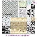 30 Blatt Papier edel Motivpapier Bastelpapier Dekorpapier Muster Scrapbooking-Block DIN A4 gold silber schwarz weiß glänzend verschiedene Farben DIN A4