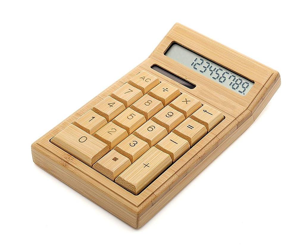 西部セーター黄ばむDS.DISTINCTIVE STYLE 竹製電卓 卓上ソーラー電卓 12桁 大型ディスプレイ 電子計算機 オフィス/学校用