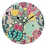 Kncsru Bonito Reloj de Pared Redondo con Flores Coloridas de Cactus, silencioso, sin tictac, Funciona con Pilas para decoración del hogar, 9,88 Pulgadas