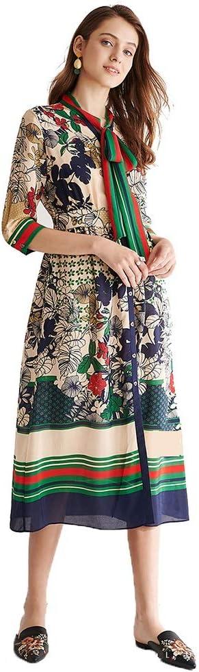 Dress Heavy Silk V-Neck Printed Silk Long Skirt Bow Slim Slimming Temperament Collar Spring and Summer Models (Color : Green, Size : S)