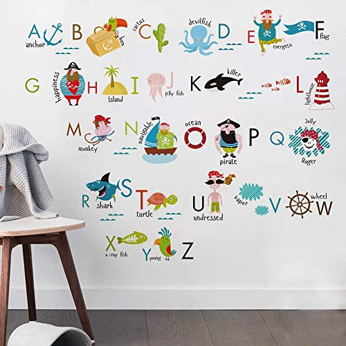 Kids Room Decor Pirate Alphabet Wall Decals For Kids Baby Room Removable  Peel And Stick Educational