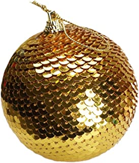 Rape Flower💗 Christmas Sequin Glitter Baubles Balls Xmas Tree Ornament Decoration 8CM