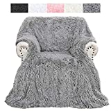 DETUM Super Soft Plush Throw Blanket, Fluffy Warm Sherpa Blanket, Cozy Shaggy Fuzzy Faux Fur Blanket for Couch Sofa Bed Home Decor (50x60 Inches, Gray)