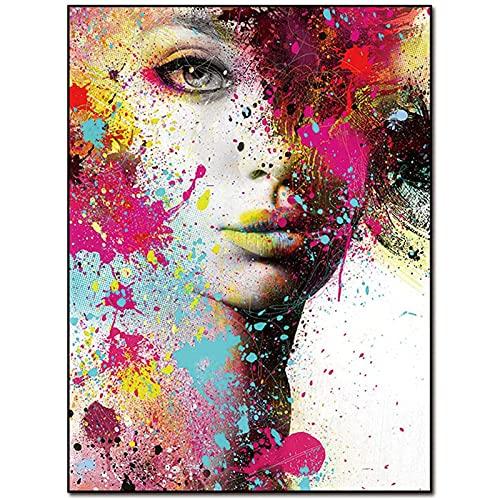 Póster De Chica Sexy Imagen Lienzo Lienzo Arte De La Pared para La Sala De Estar Decoración del Dormitorio Moderno Abstracto Colorido Acuarela Retrato De Mujer Arte - Sin Marco,50x75 cm