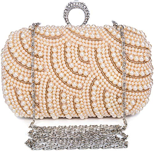 SYMALL Mujer Clutch Fiesta Bolso de Noche Bandolera Cartera de Mano para Boda Novia Ceremonia Catena Strass Nupcial Diseño con Perlas Billetera de Mujer, Beige