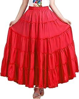 De feuilles Damen Maxirock Boho Flamenco Rock,größer Rockzipfel,5 Schichten stückeln,für Sommer/Strand/Tanz Party Einheitgröße