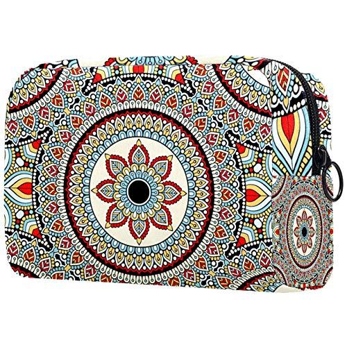 ATOMO Bolsa de maquillaje, bolsa de viaje cosmética de moda, bolsa de aseo grande, organizador de maquillaje para mujer, mandala psicodélico henna