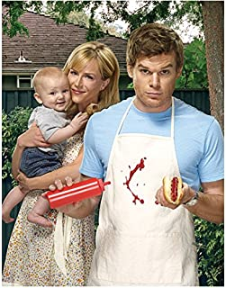 Dexter (TV Series 2006 - 2016) 8 Inch x 10 Inch Photograph Michael C. Hall Holding Ketchup & Hot Dog w/Julie Benz & Baby kn