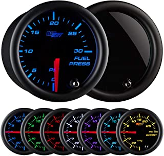 "GlowShift Tinted 7 Color 30 PSI Fuel Pressure Gauge Kit - Includes Electronic Sensor - Black Dial - Smoked Lens - for Diesel Trucks - 2-1/16"" 52mm"