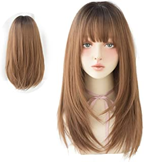 HUAISU Long Black Straight Hair Wig with Bangs Synthetic High Density Long Hair Wig for Women (Brown, 22inch)