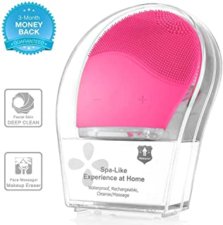 Sonic Face Cleanser, Opaceluuk Silicone Facial Cleansing and Massager Brush, Anti-Aging, and Reducing Acne.(Pink)