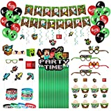 Decorlife Miner Crafting Birthday Party Decorations, Birthday Decorations for Boys, Gamers - Includes Party Backdrop, Photo Booth Props, Bracelets, Cake Toppers and Wrappers, Printed Balloons, Total 112PCS