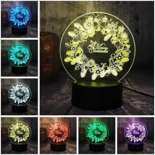 Ghirlanda natalizia 3D LED RGB Luce notturna Lampada da scrivania USB Lampada da notte per bambini Home Decro Lustre Allegro
