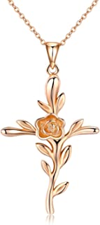 Cross Necklace, Rose Flower Pendant Necklace 18k Rose Gold Plated Jewelry Gift for Women
