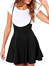 Women's Suspender Skirt Casual High Waist Short Dress Shoulder Straps Flared Skater Skirt (Black, XXL)