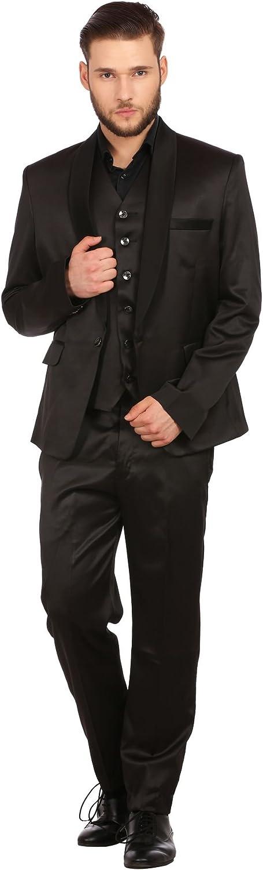 WINTAGE Men's Poly Blend Notch Lapel Tuxedo 3Pc Suit: Black