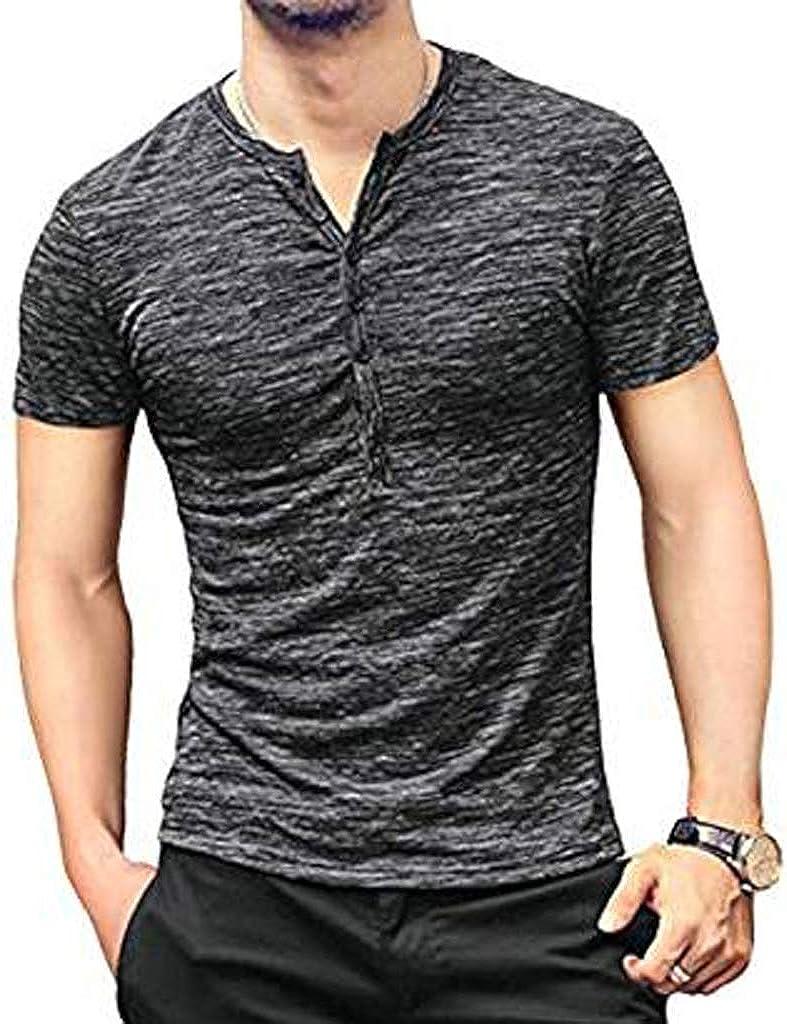 Nuofengkudu Men's Henley Shirts Short Sleeve Slim Fit Lightweight V Neck Summer Casual Cotton Basic T Shirts