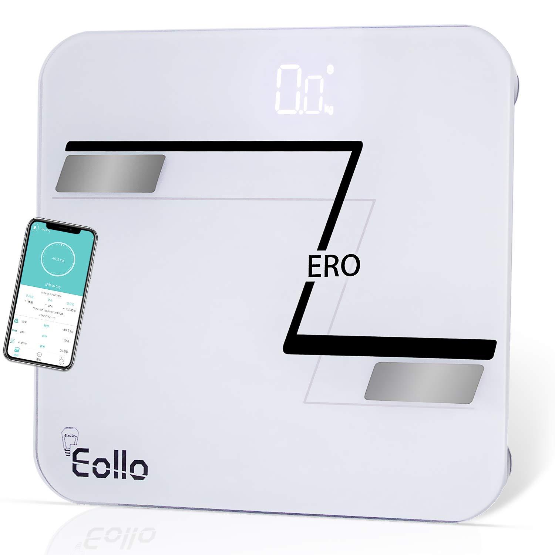 配管罪人アミューズメントEollo 体重計 体脂肪計 体組成計 体脂肪率 体水分率 内臓脂肪レベル BMIなど多項測定可能 高精度ITO&BIA技術 Bluetooth連携 IOS/Androidアプリで健康管理 ダイエット肥満予防 強化ガラス 薄型 LEDディスプレイ 日本語アプリ対応 日本語取扱説明書付き (ホワイト)