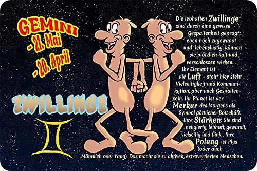 Metalen bord 30x20cm sterrenbeeld tweelingen humor spreuk metalen bord