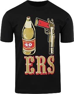 Mens T Shirt 40oz 9MM Gold Gun Mens T Shirt San Francisco Pistol Golden Empire