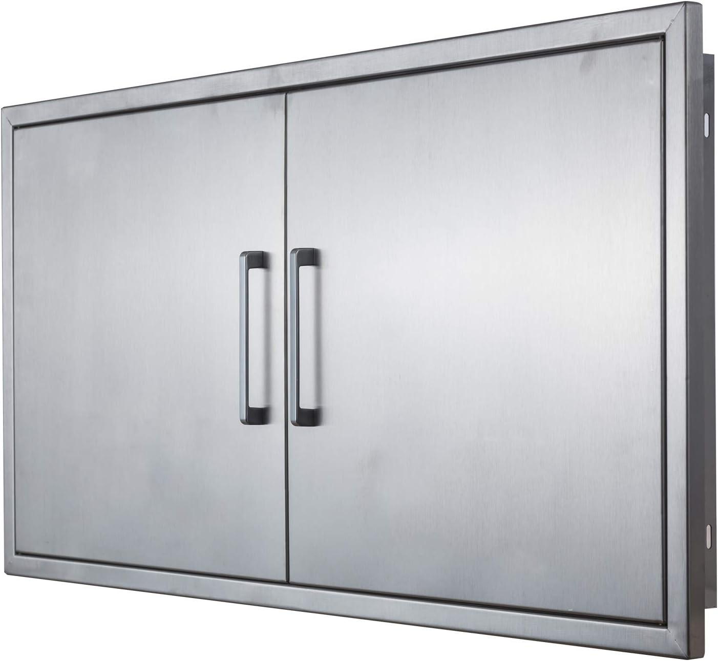 Amazon Com Outdoor Kitchen Doors 42 W X 21 H Stainless Steel Bbq Double Access Door Flush Mount For Outdoor Kitchen And Bbq Island Garden Outdoor