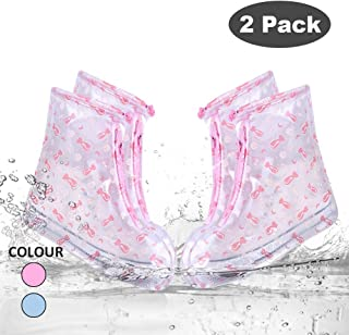 SPORUS Waterproof Shoe Cover [Pack of Two], Rain Shoe Cover with Elastic Strip and Zipper, Reusable and Anti-Slippery for Adult and Kids