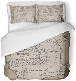 """Tarolo Bedding Duvet Cover Set Abstract Old Fantasy Romania Map Ancient Antique Bucharest Cartography Castle 3 Piece Queen 90""""x90"""" Quilt Cover with Zipper Closure"""