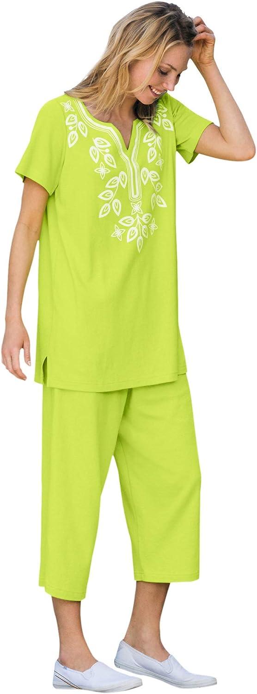Woman Within Women's Plus Size Printed Tunic And Capri Set