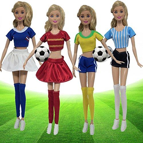 MeterMall World Cup Frauen Fu?baller Puppen Kleidung Puppe Zubeh?r Sport Socken + Hosen / Rock + Shirt f¨¹r Barbie-Puppe (nicht Inlicude Fu?ball Schuhe oder Puppen)