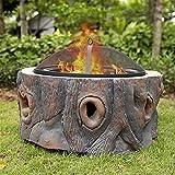 Wsjfc Feuerstelle, holzbefeuerte Feuerstelle, runde Eisenpfanne mit Funkenschutzabdeckung für Gartenterrasse, Lagerfeuerheizung, Camping und Grill