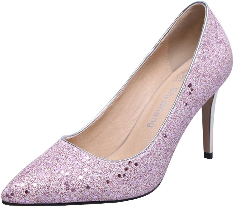 Agodor Women's High Heels Wedding Glitter Pumps Stiletto Elegant Pointed Toe Slip on Work shoes