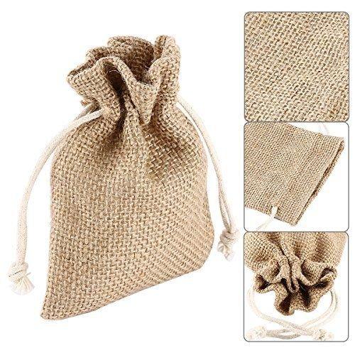 FLM® 100 sacchetti di Juta per bomboniere confetti compleanni matrimonio stile shabby chic