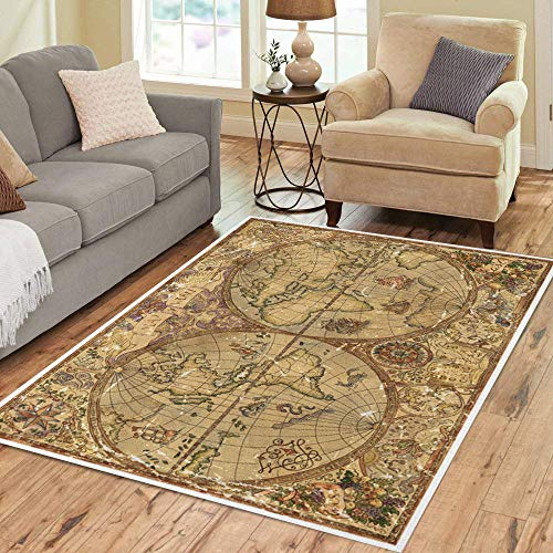 Pinbeam Area Rug Vintage World Atlas Map on Antique Parchment Pirate Home Decor Floor Rug 3' x 5' Carpet