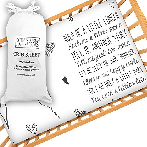 Ocean Drop Designs Baby Crib Sheet with Quote, Cute Unisex Crib Sheet, Softest Jersey 100% Cotton, New Baby Gift, Christening Gift, fits Standard Size Mattress, Baby Quote Sheet, Machine Washable