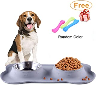 RUN ANT Dog Food Bowls, Stainless Steel Dog Bowls and Pet Bowls with No-Spill and Non-Skid Mat Feeder Bowls Suittable for Dogs Cats and Pets