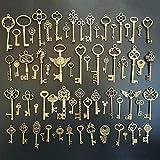 CHuangQi 69pcs Antique Bronze Vintage Skeleton Keys Charm Set, Steampunk Key, DIY Handmade Accessories, Jewelry Making, Supplies Wedding Favors