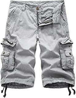 TOSKIP Men's Cargo Shorts Cotton Twill Multi Pockets Outdoor Wear
