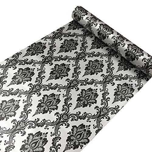 Yifely Retro Black Damask Furniture Paper Self-Adhesive Shelf Liner Light Grey Table Dresser Decor Sticker 17.7 Inch by 9.8 Feet