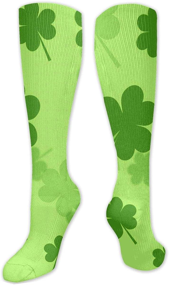 Green Clover Knee High Socks Leg Warmer Dresses Long Boot Stockings For Womens Cosplay Daily Wear