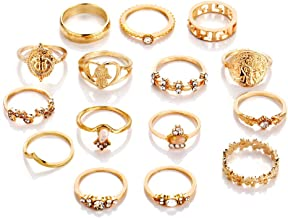 Edary Vintage Pattern Carved Knuckle Rings Crystal Joint Knuckle Ring Set Gold Rings for Women and Girls.(15PCS)