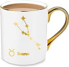 24K Gold Taurus Constellation Star Design Fine Bone China Coffee & Tea Mugs - 10oz - Gift Ideas for Birthday