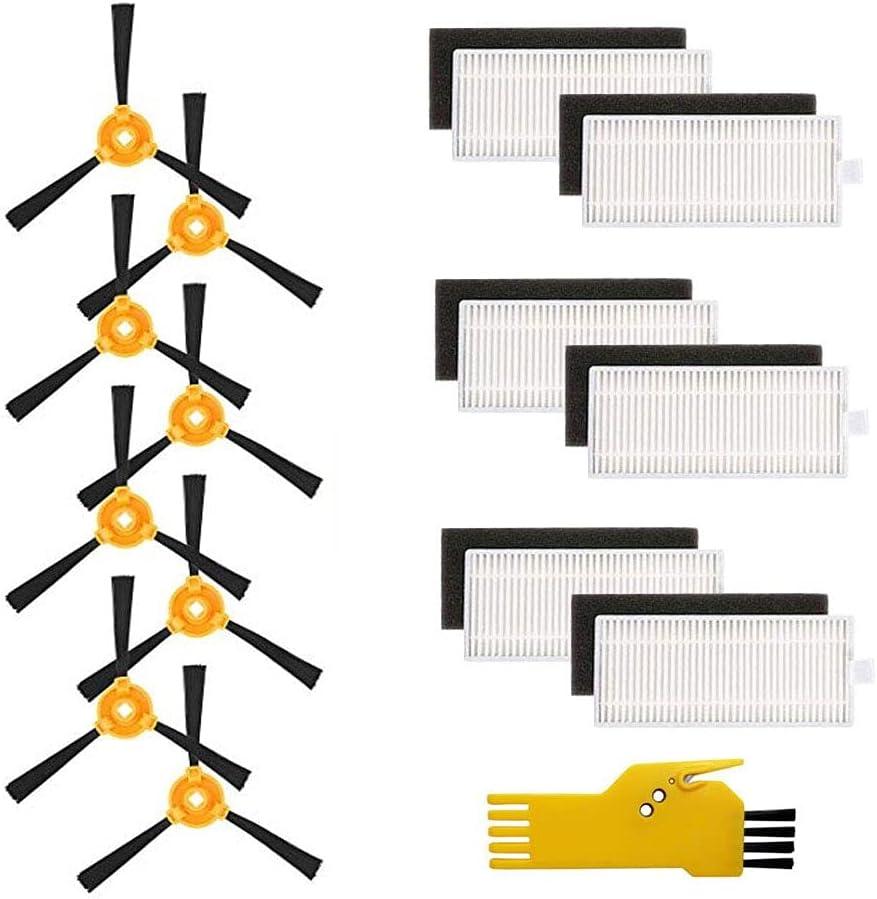 Kit de accesorios Laimaiou para LEFANT M201 M501A T700 M520 M571 M501-B M301 Robot Aspirador Piezas de repuesto 14 paquetes de 6 filtros y 8 cepillos laterales